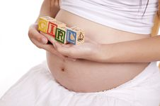 Free Pregnant Blocks Girl Side Horizontal Stock Photo - 16391870