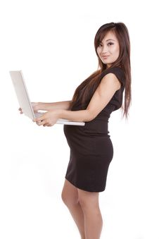 Free Pregnant Business Woman Laptop Looking Stock Photos - 16391883
