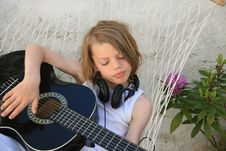 Free Boy And Guitar Stock Image - 16392191