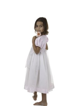The Girl In A White Dress Stock Photo