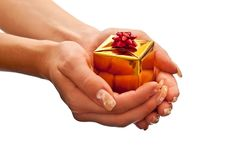 Free Yellow Gift Box In Woman S Hand Royalty Free Stock Images - 16392819