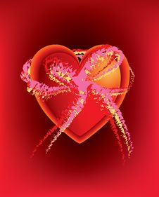 Heart In Heart With Large Abstract Bow Royalty Free Stock Photo