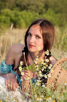 Free Beautiful Woman In A Field Of Flowers Royalty Free Stock Image - 16393516