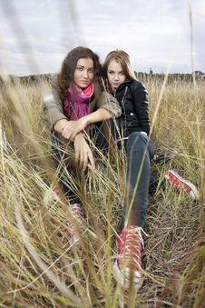 Free Autumn Portrait Of Two Young Women Stock Photos - 16393563