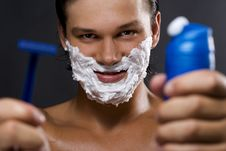 Free Handsome Man Shaving Stock Images - 16393684