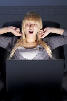 Free Yawning Woman With Laptop Stock Photography - 16394292