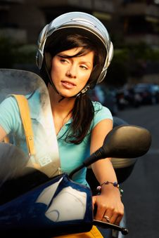 Woman On The Bike Royalty Free Stock Image
