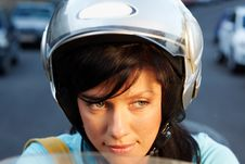Woman On The Bike Stock Photography