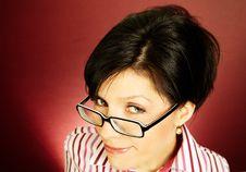 Nerd Office Woman Stock Photo