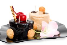 Free Cake With White And Dark Chocolate Royalty Free Stock Photos - 16397408