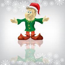 Free Christmas Greeting Dwarf On A White Royalty Free Stock Photos - 16398058