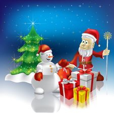 Christmas Greeting Santa Claus With Gifts Royalty Free Stock Photo