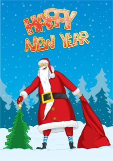 Free Santa With A Christmas Tree And A Sack Royalty Free Stock Photos - 16399658