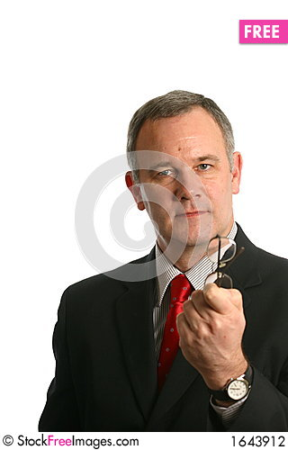 Businessman in suit giving advice Stock Photo