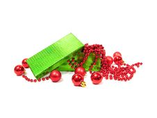 Free Red Christmas Balls In Green Box On White Background Stock Image - 1640851