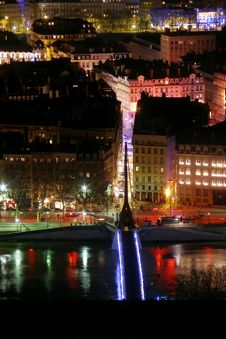 Free Lyon By Night Stock Photography - 1643292
