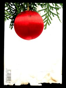 Free Poscard Frame With Red Christmas Ball Stock Images - 1645384