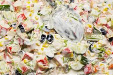Free Mixed Salad Background With Spoon Stock Images - 1646944