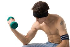 Man With Dumbbels Royalty Free Stock Photography