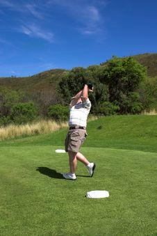 Golfer On The Tee Box. Stock Photos