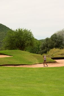 Free Golfer In The Sand Bunker Stock Photography - 1649292