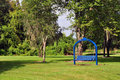 Free Blue Rocking Bench At A Park Stock Photo - 16404640