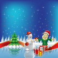Free Christmas Tree With Dwarf And Snowman On Blue Stock Photo - 16407380