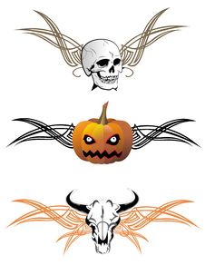 Free Set Of Halloween Elements. Tattoo Design Stock Photography - 16401292