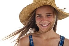 Free Cute Teen Girl In Straw Hat Stock Photo - 16401580