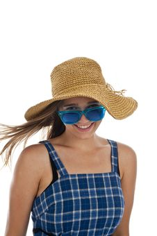 Free Cute Teen Girl In Blue Sunglasses Stock Photography - 16401592