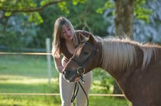 Free Woman And Shetland Pony Royalty Free Stock Photos - 16401818