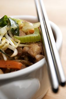 Stir Fried Chicken Noodles Stock Image