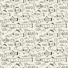 Seamless Pattern With Fish Royalty Free Stock Images