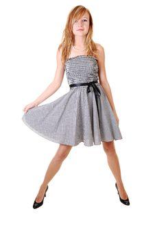 Free Girl In Black White Dress. Stock Image - 16404731