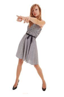 Free Girl In Black White Dress. Stock Images - 16404744