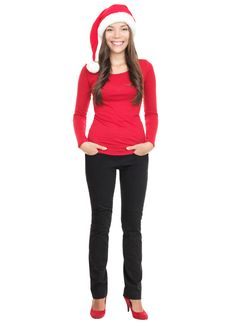 Free Young Woman Smiling With Santa Hat Stock Photo - 16404920