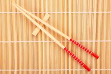 Japanese Chop Sticks On Bamboo Stock Image