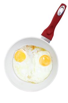 Broken Egg Frying In A Pan Isolated On White Royalty Free Stock Photography