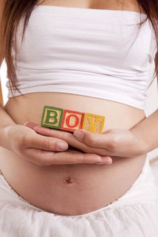 Free Pregnant Blocks Boy Front Stock Photography - 16405552