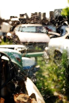 Spider Web And Old Abandoned Car Stock Images