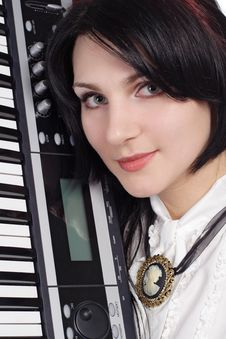 Free Beautiful Girl With Synthesizer Isolated Royalty Free Stock Photos - 16406368
