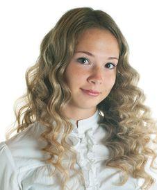Free Smiling Girl On White Stock Image - 16406471
