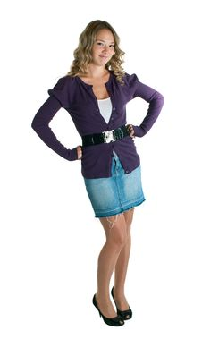 Girl In A Lilac Shirt And Jeans Skirt Stock Photography