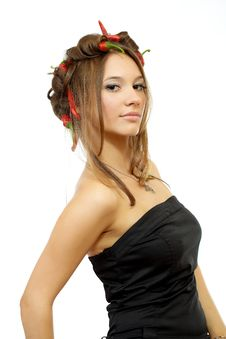 Young Sexy Woman With Red Hot Chili Peppers Royalty Free Stock Photography