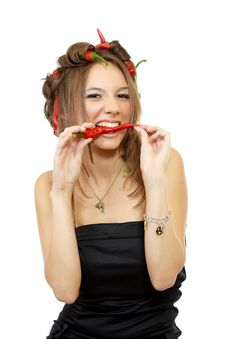 Young Sexy Woman With Red Hot Chili Peppers Stock Images