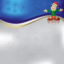 Christmas Greeting With Dwarf On Blue