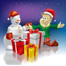 Free Christmas Snowman And Dwarf Stock Image - 16407271