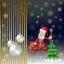 Free Christmas Tree And Santa Claus On A Gold Royalty Free Stock Images - 16407329