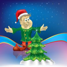 Free Christmas Tree With Dwarf On Stars Royalty Free Stock Photography - 16407397