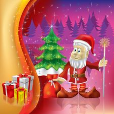 Christmas Tree With Santa Claus On A Purple Royalty Free Stock Photos
